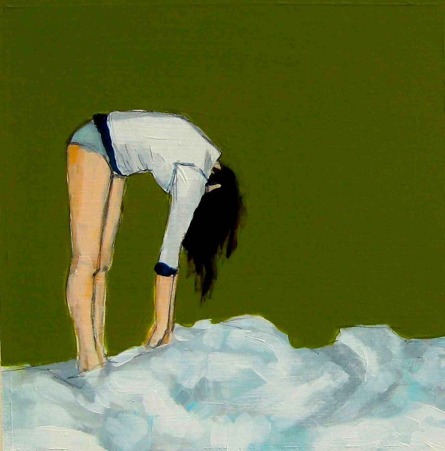 To the Clouds . olive green art print
