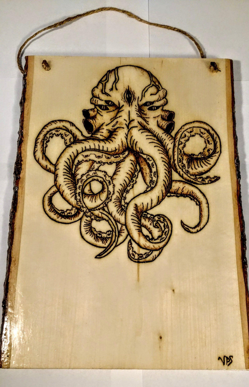 Cthulhu Wood Burned Wall Art | Dungeons & Dragons Cthulhu ...
