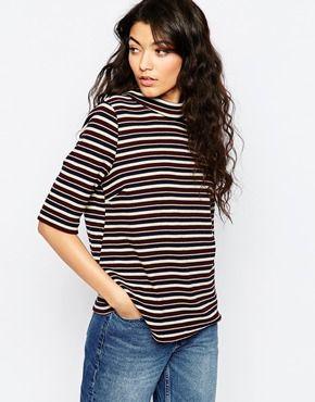 12a4671acf39 Vila Decor 3/4 Sleeve Stripe T-Shirt | Wardrobe | Striped tee, T ...