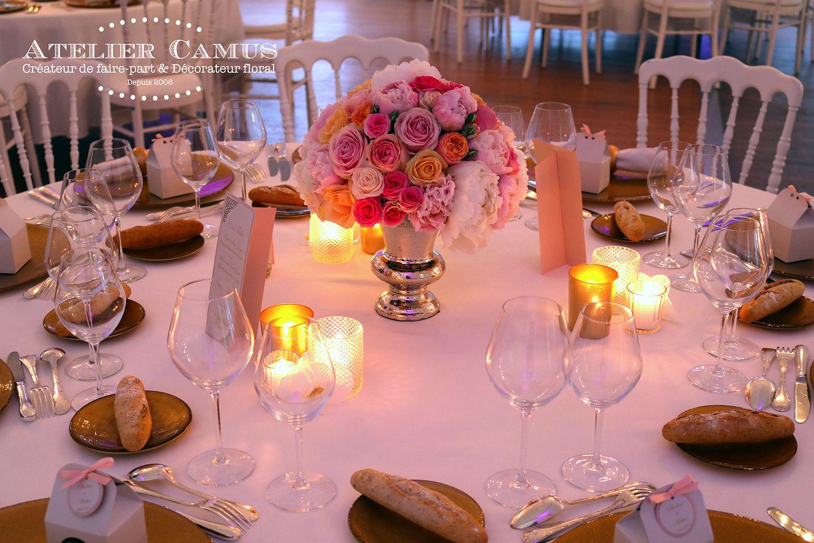 Centre de table mariage chic et raffiné.  Table mariage chic