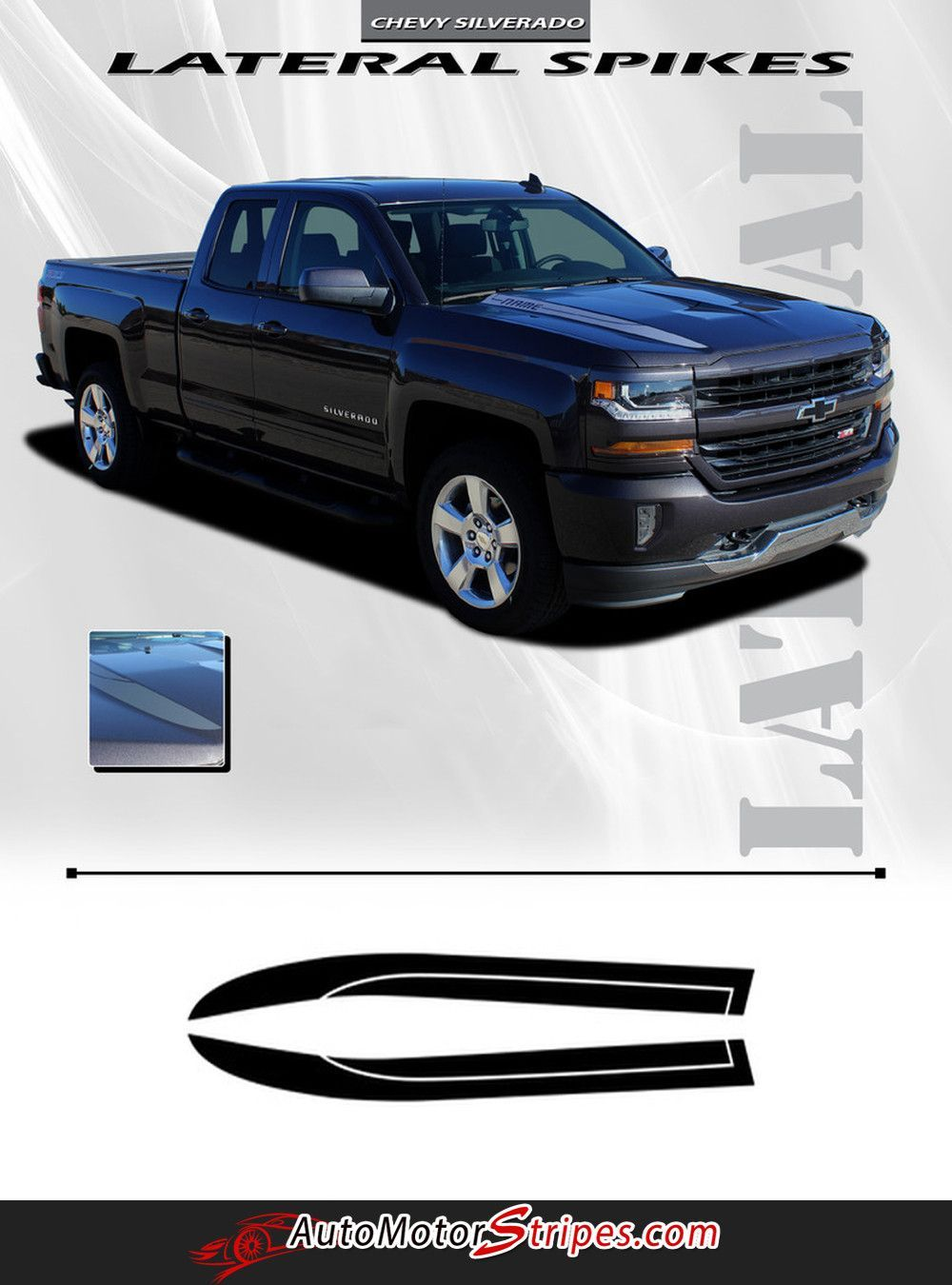 Silverado 2003 chevy silverado 1500 accessories : 2016-2018 Chevy Silverado 1500 Lateral Spikes Double Hood Spear ...