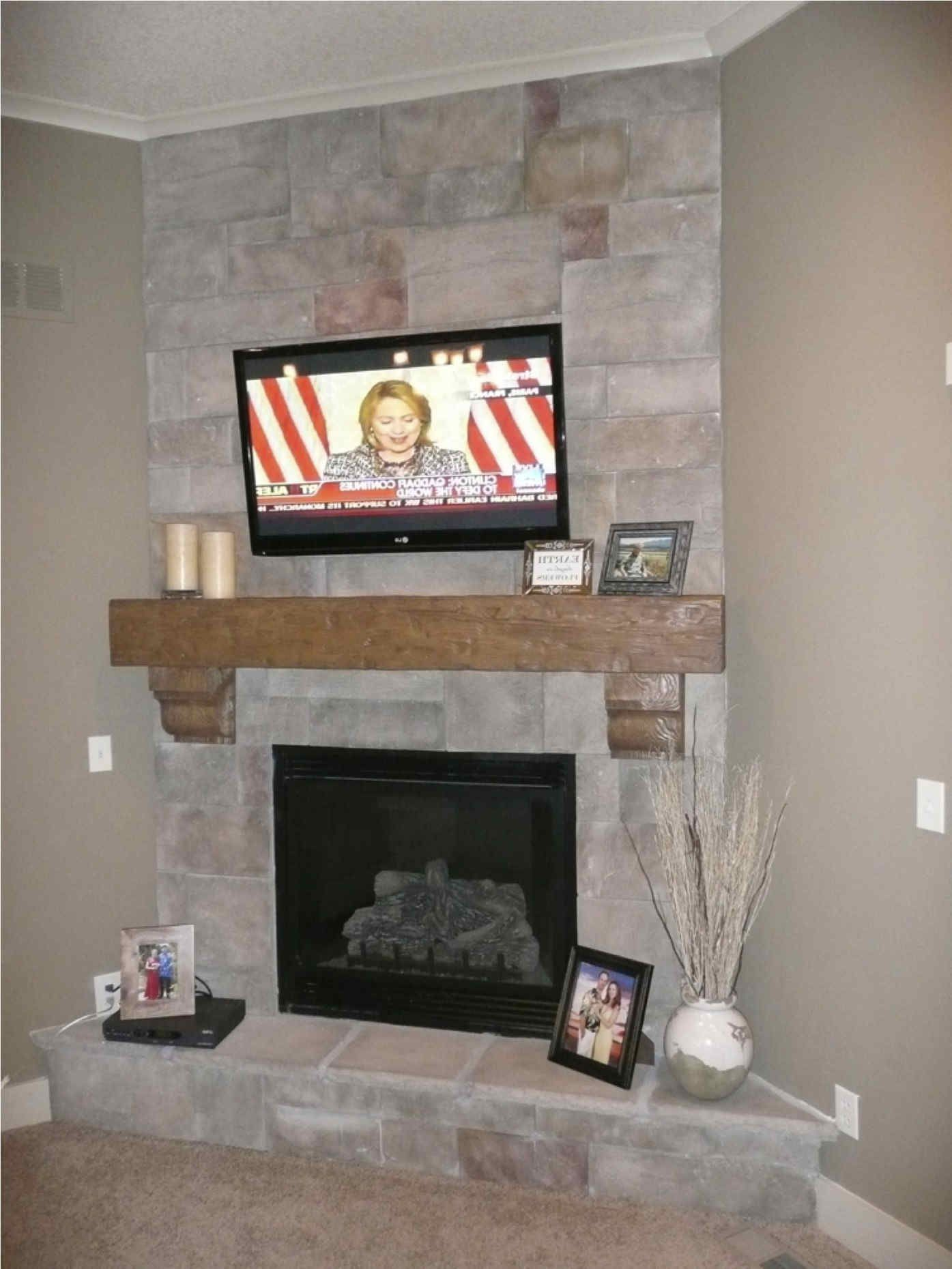 Corner Stone Fireplace Electric Porch Tv Above Modern