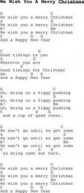 Christmas Songs and Carols, lyrics with chords for guitar banjo for We Wish You … – Rebecca Neuss