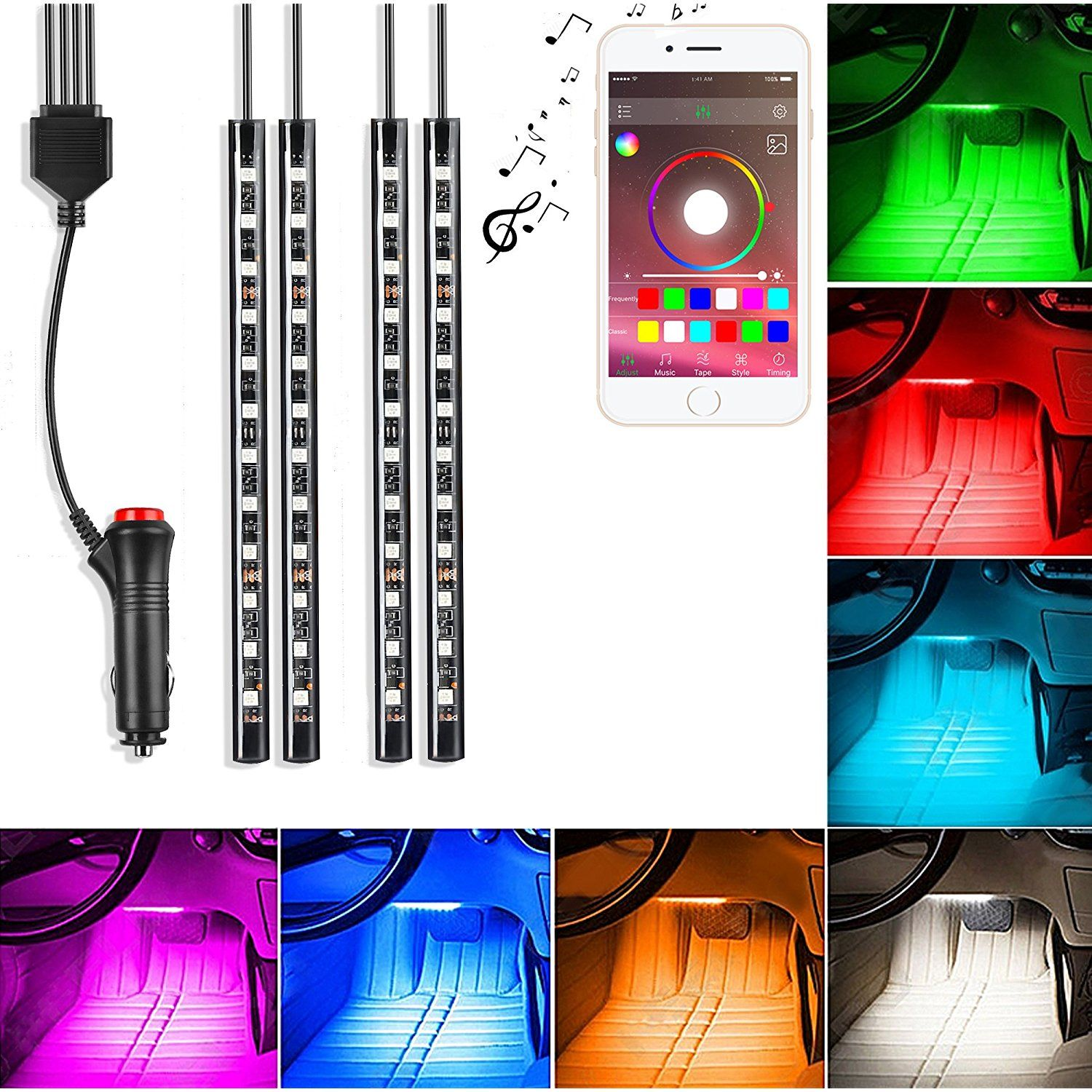 iphone controlled lighting. Saimly 4-Piece Multicolor LED Interior Underdash Lighting KitBy APP Bluetooth Controller For IPhone Android Iphone Controlled