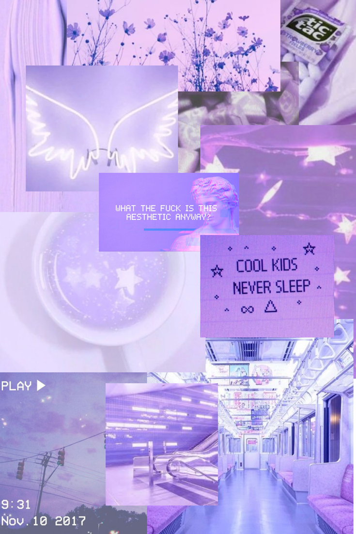 An aesthetic pastel purple collage I made. in 2020 (With