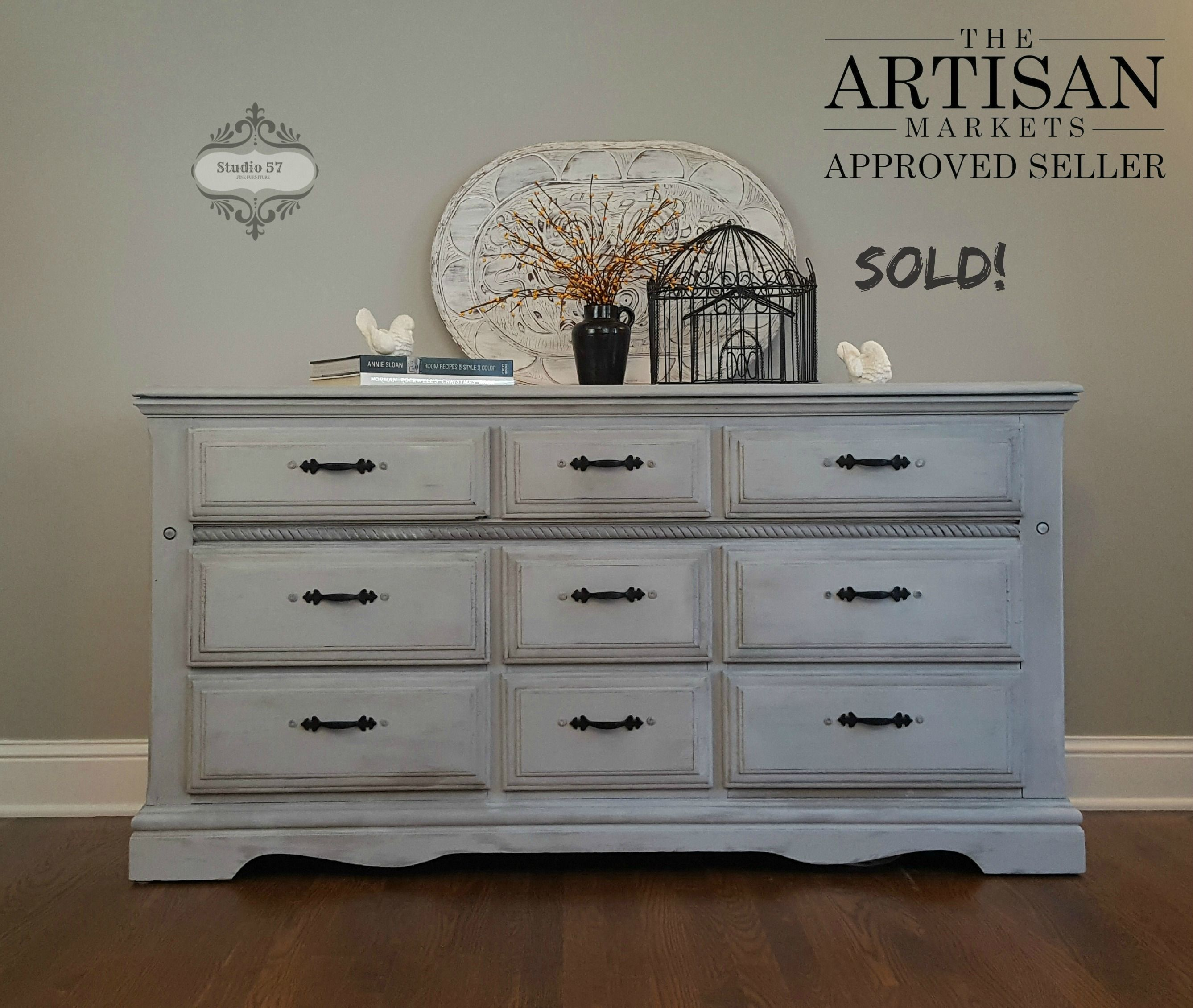 Vintage Dresser Finished In Annie Sloan Products Base Coat Of French Linen And Washed With Paris Grey Clear Wax Vintage Dressers Paris Grey Studio 57 [ 2260 x 2675 Pixel ]