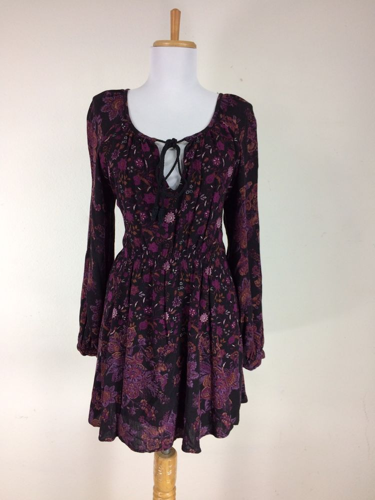 Free People Blouse Size S Gypsy Peasant Bohemian Black Mini Dress Festival  #FreePeople #Blouse