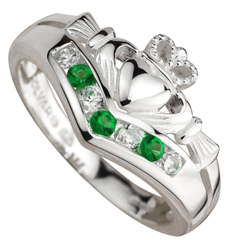 Claddagh Ring Ladies Sterling Silver with CZ and Emerald