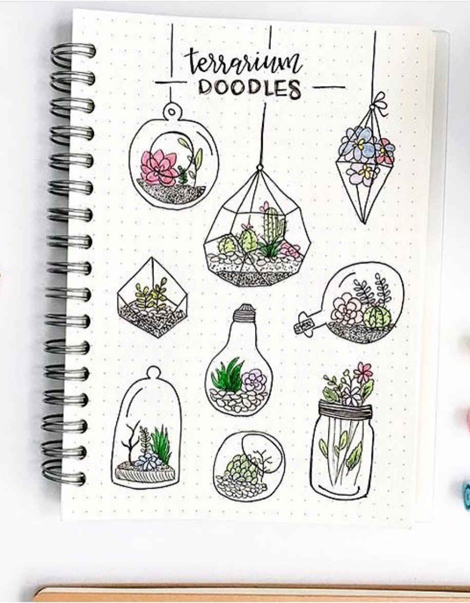 Plant terrarium doodles a bullet journal doodle inspiration by