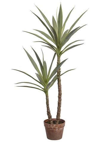 Tropical Fake Plants Yucca Tree In Pot 44 Tall In 2020 Yucca Tree Potted Trees Fake Plants