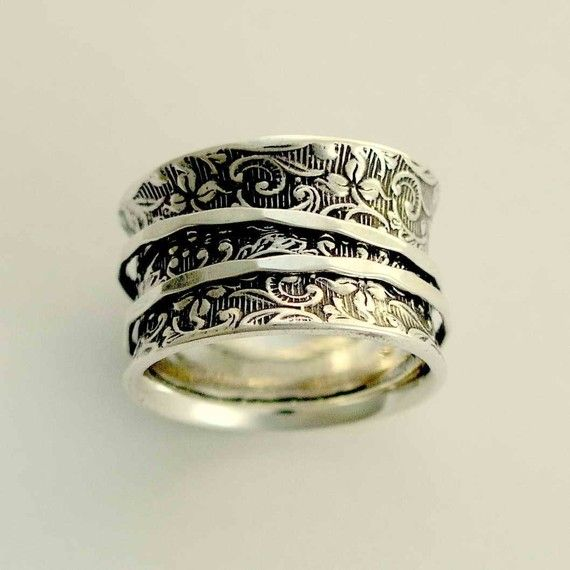 Silver Wedding Band Spinners Ring Filigree Wide Oxidized A Way Of Life 2 R1209as