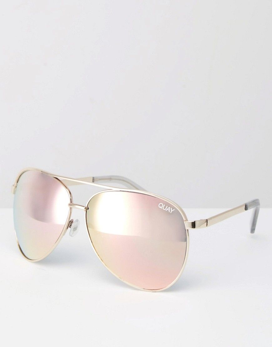 9e10b23851 Quay Australia vivienne rose gold metal aviator sunglasses