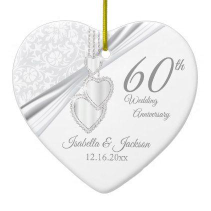 60th Diamond Wedding Anniversary Ceramic Ornament Cyo Diy Gift Idea Presents Party Celebration Pinterest