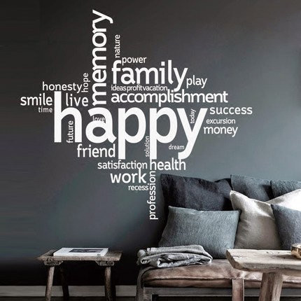 Uniqute Special Large Happy Word Wall Stickers Custom Quotes Vinyl Wall Decals Living Room Home Decor Steampunk Wall Art Bedroom In 2020 Wall Decals Living Room Vinyl Wall Decals Living Room