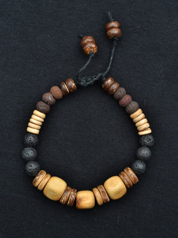 Men S Natural Bracelet Juniper Wood Lava Beads Coconut Shell