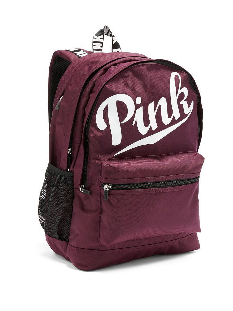 36a4f541914 New Victoria s Secret Pink Campus Backpack Black Orchid Burgundy Maroon Red  VS