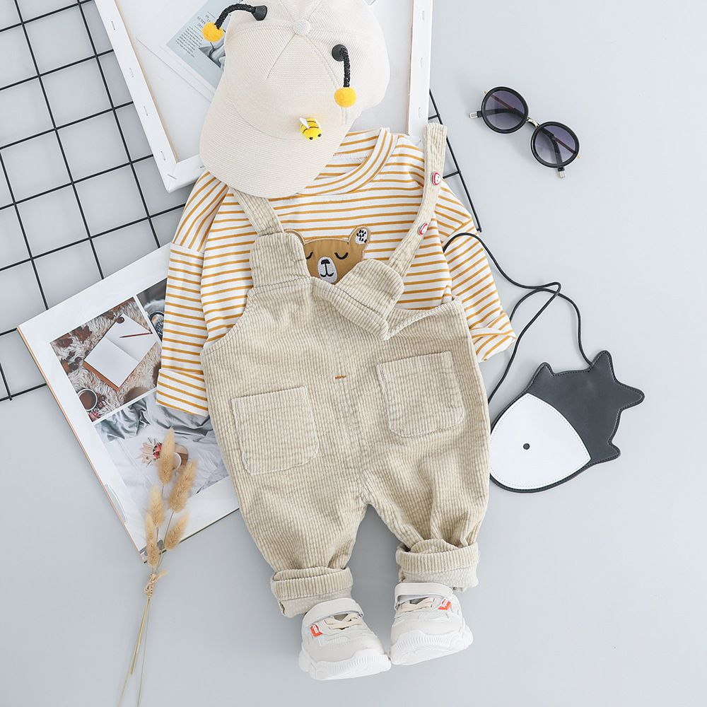 Baby / Toddler Striped Bear Print Top and Suspender Trousers Set