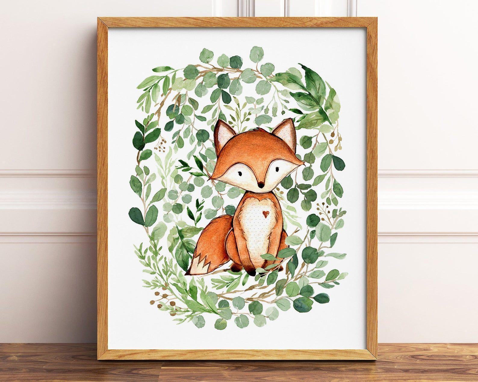 Woodland Fox Art Print Nursery Fox Printable Art Woodland Fox Wall Art Nursery Fox Baby Nursery Fox Wall Decor Woodland Fox Printable