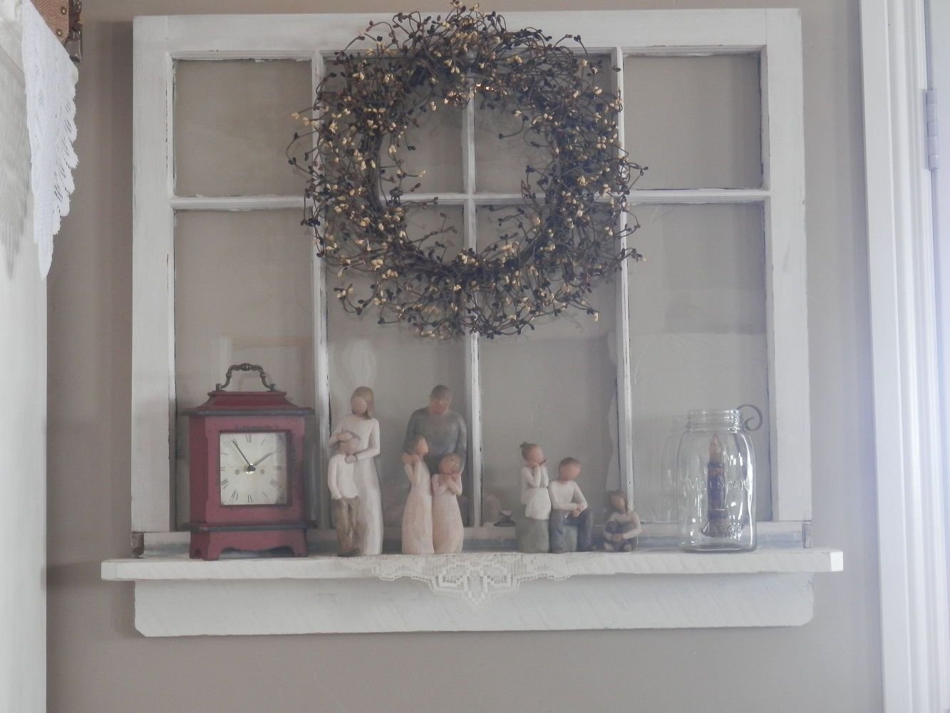 Window shelf decor  repurposed old window to shelf decoration  old nasty door decor