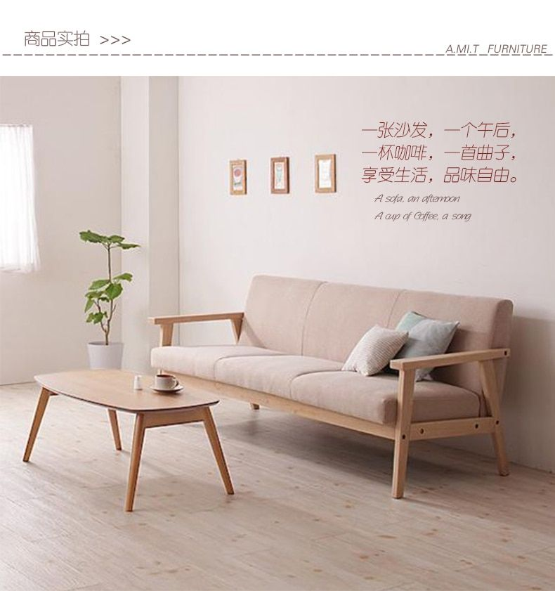 Simple Detachable Small Sofa Small Single Solid Wood Sofa