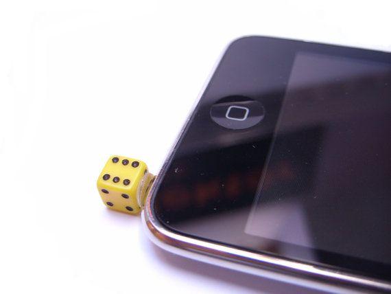 Dice Iphone Plug Phone Plug Dust Plug Ipod Plug Phone Decoration Dice Accessories 10 00 Via Etsy Phone Plug Dust Plug Phone