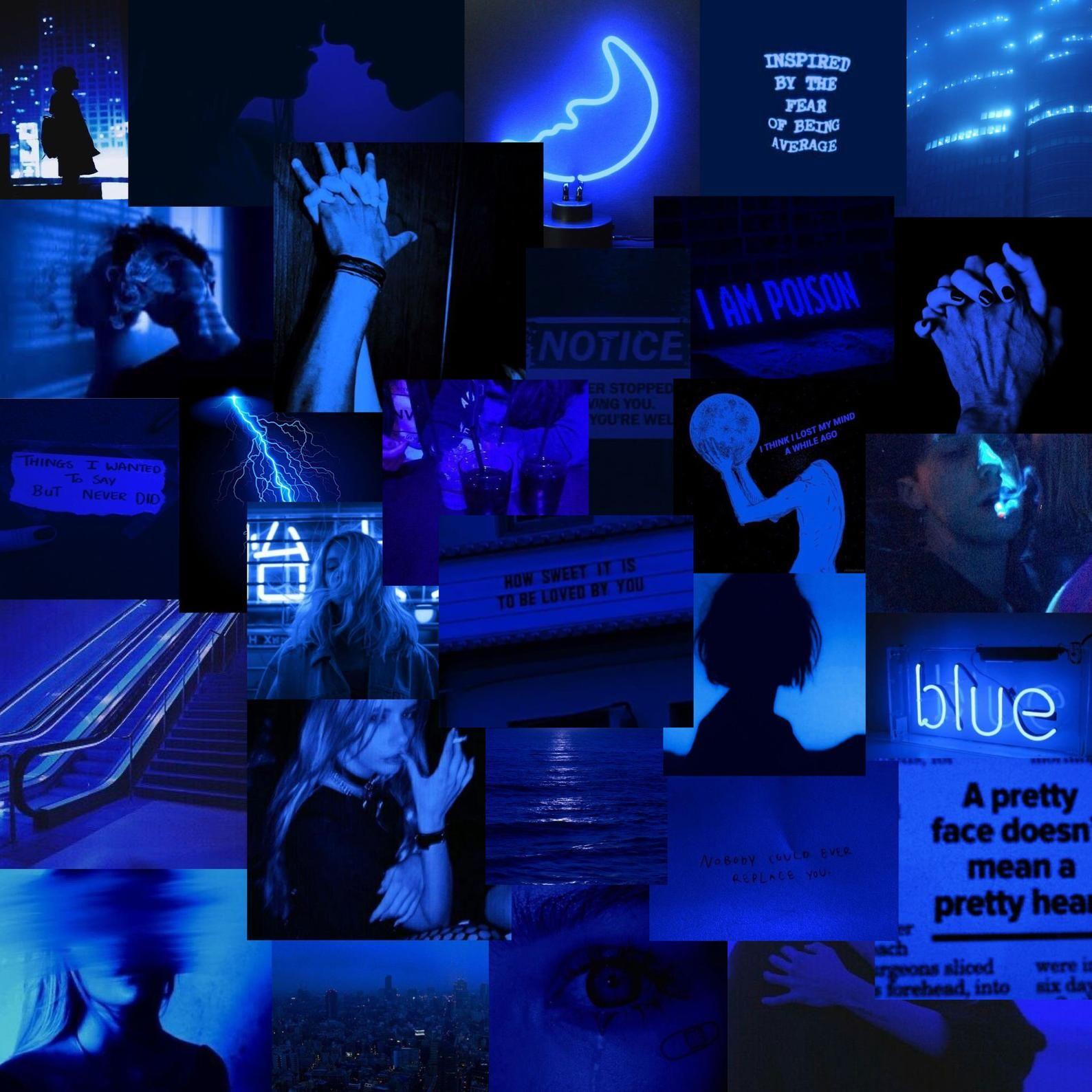 Dark Blue Grunge Vsco Digital Wall Collage 55 Pcs Etsy Blue Aesthetic Dark Dark Blue Wallpaper Light Blue Aesthetic