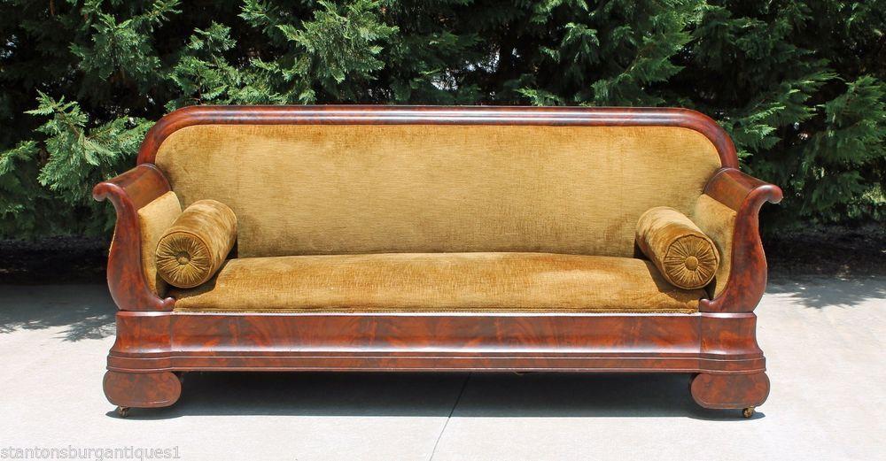 Empire Sofa striking flamed mahogany empire sofa circa 1840