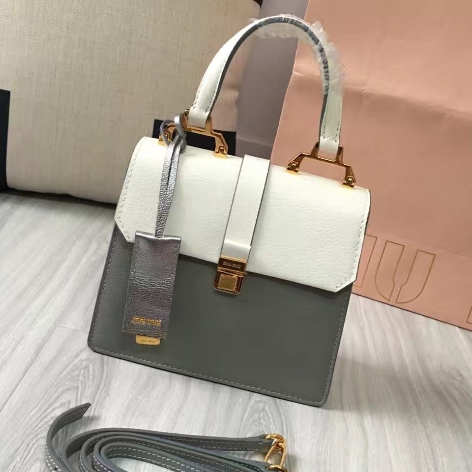 51b5a75a1e06 Miu Miu Madras Goat Leather Top Handle Bag 5BH018 White Gray 2016 Miu Miu  Handbags