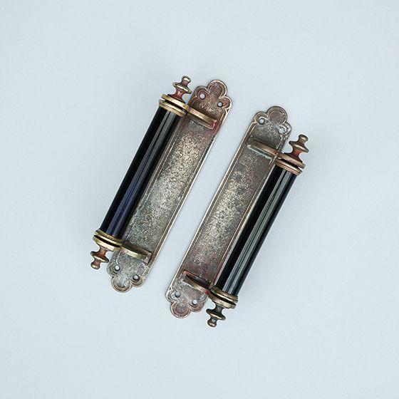 黒ガラスのドアハンドル ペア 25 3cm ヴィクトリア王朝期 アンティーク