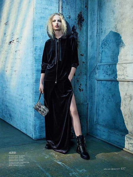 Frederikke Sofie has a dark moment in Akris velour zip jacket and matching skirt with envelope snakeskin bag