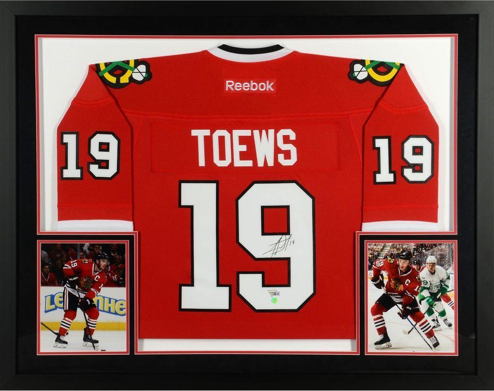 8d1e1fdfe15 Jonathan Toews Chicago Blackhawks Framed Signed Red Reebok Premier Jersey