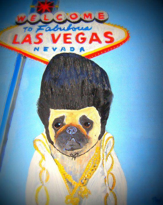 11x14 Pug Dog Art Print Elvis Look A Like Contest By Original