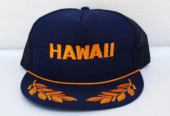 Vintage Hawaii Trucker Hat Snap Back Cap Oregon Tourist Adjustable Mesh Embroidered