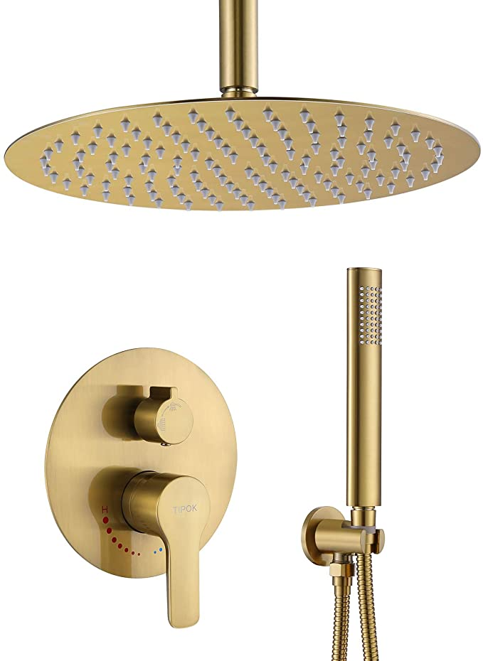 Gold Shower System Ceiling Shower Faucet Brushed Gold Has 12 Inch Round Golden Brush Rain Shower Head With H In 2021 Shower Faucet Sets Rainfall Shower Shower Systems Gold hand held shower head