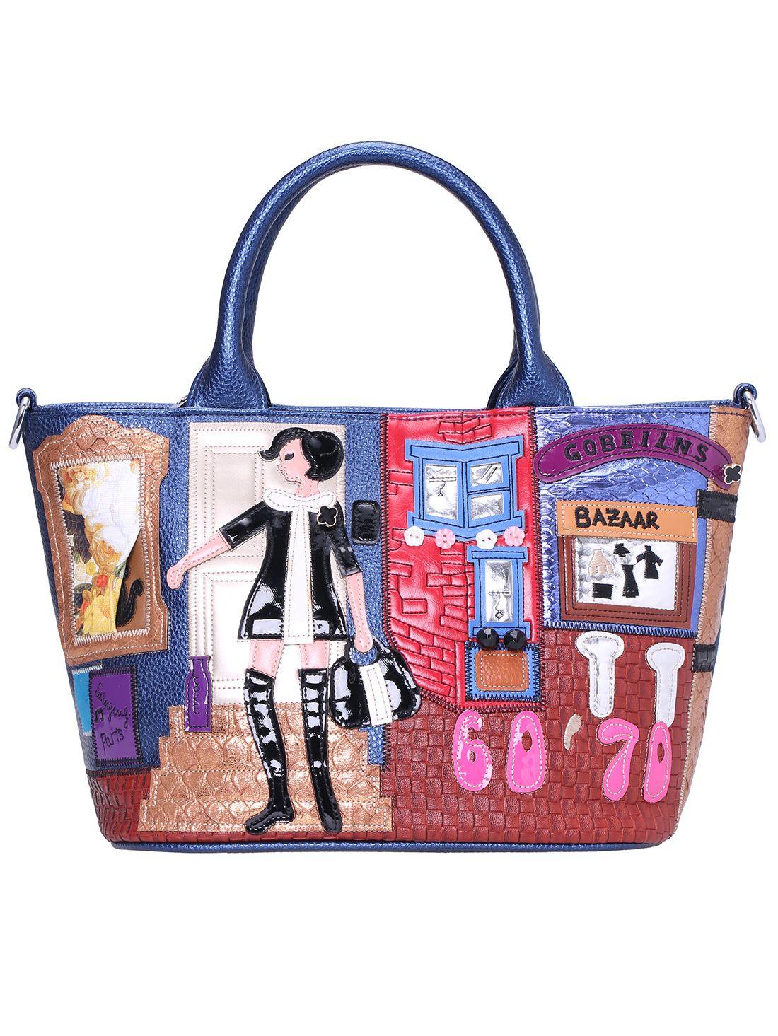 a920c43258 Blue Girl Pattern PU Tote Bag 34.67 Mie