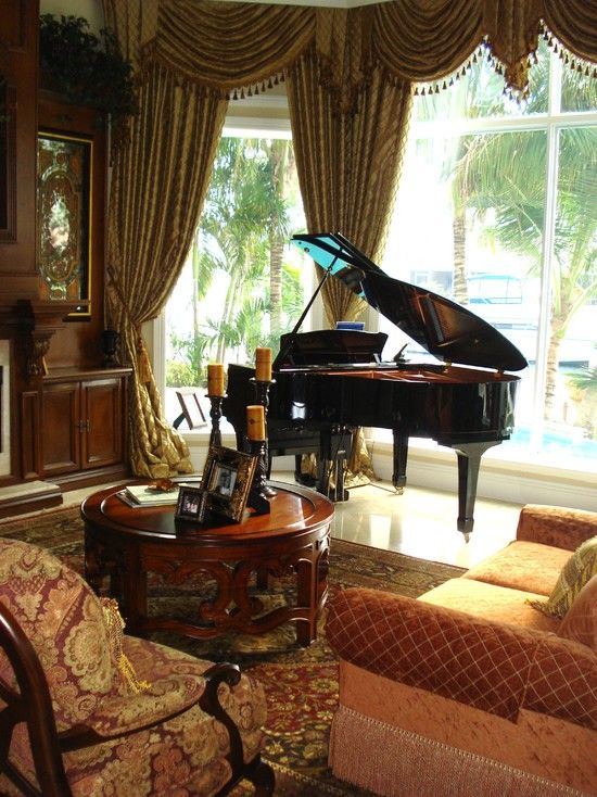 Grand Living Room: Elegant And Formal Living Room With Piano