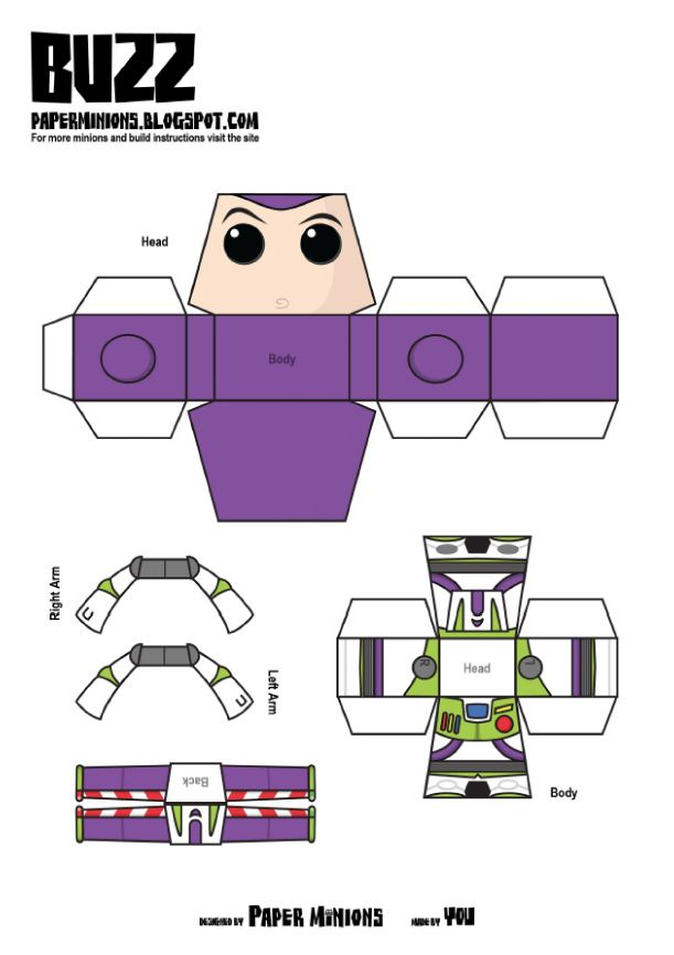 Blog Paper Toy papertoys Paper Minions Buzz template preview Woody  Buzz de Paper Minions