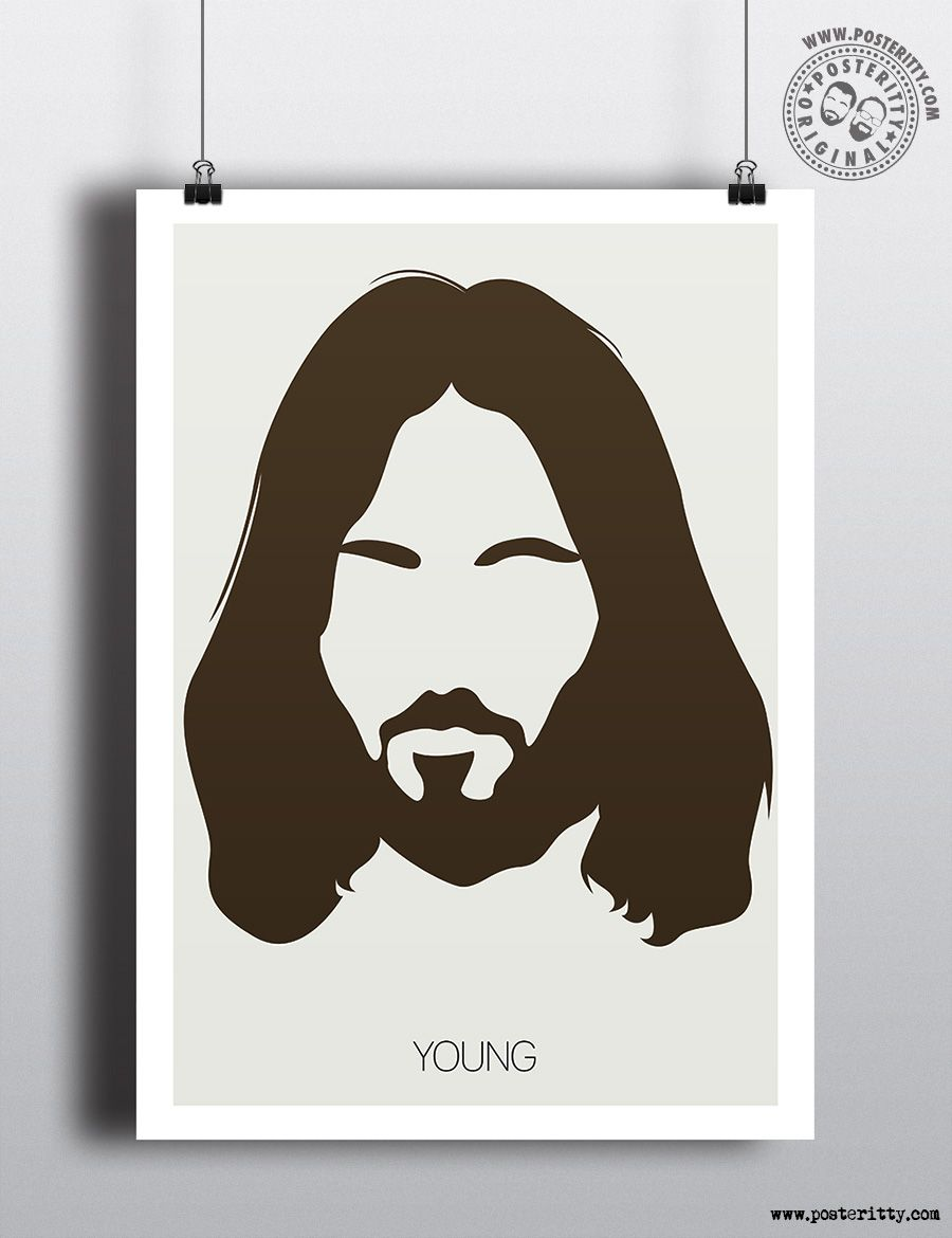 Neil Young - Minimalist Music Poster by #Posteritty #MinimalArt #MinimalPosters #PosterittyStyle #NeilYoung #Minimalhair