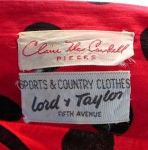 Vintage Fashion Guild Label Resource Mccardell Claire Claire Mccardell Vintage Labels Labels