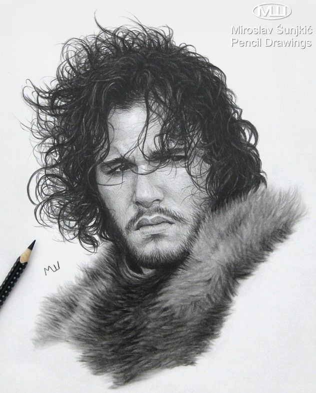 Pencil Drawing Of Jon Snow Game Of Thrones Artwork Pencil