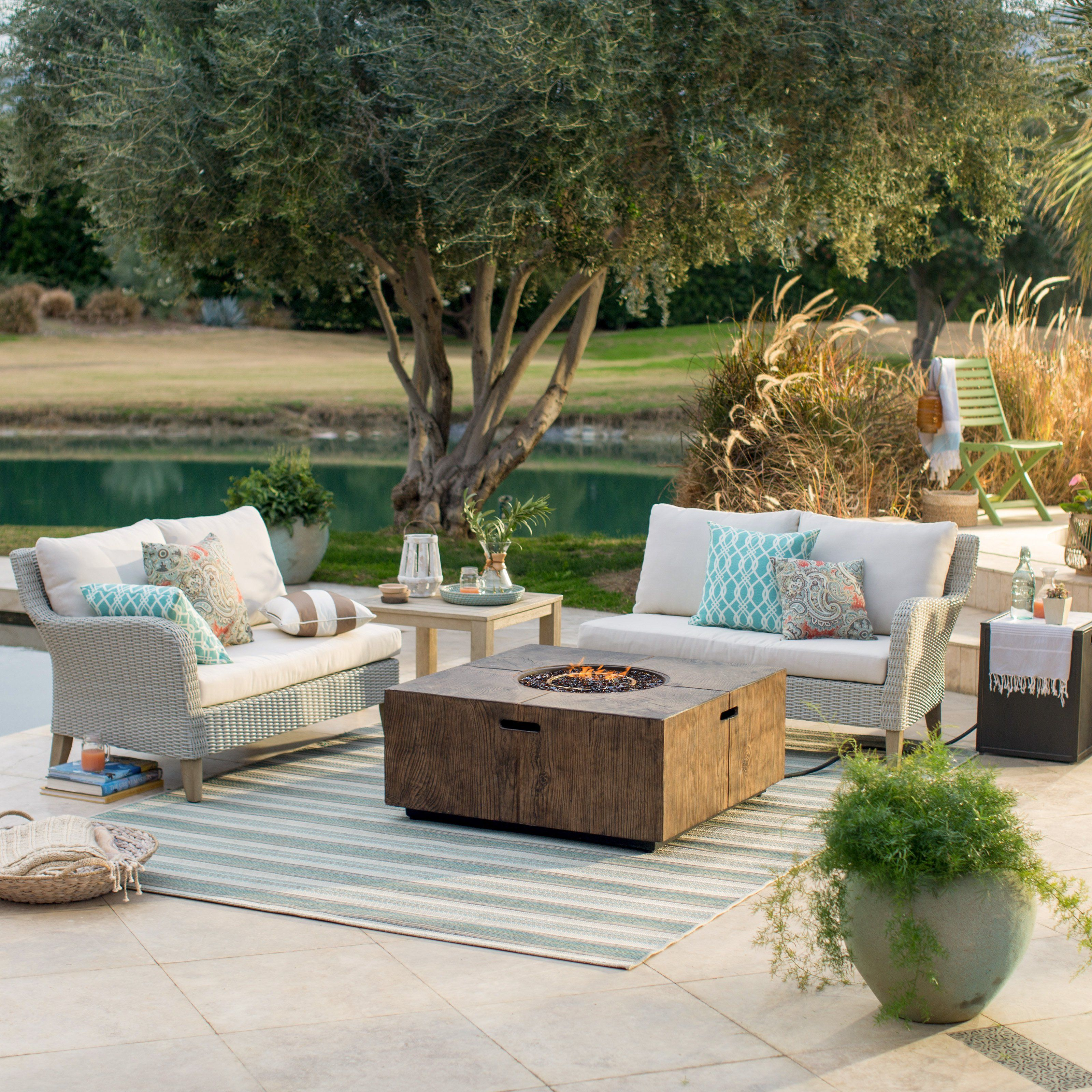 outdoor belham living bellevue wicker sofa sectional with fire pit