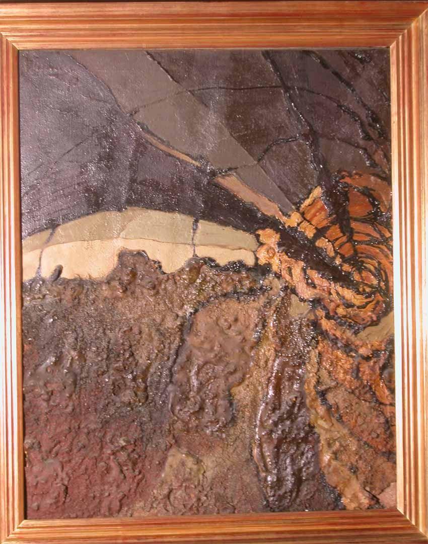 Cuadro abstracto en relieve. Autor: Rafael Villanueva. Firmado ...
