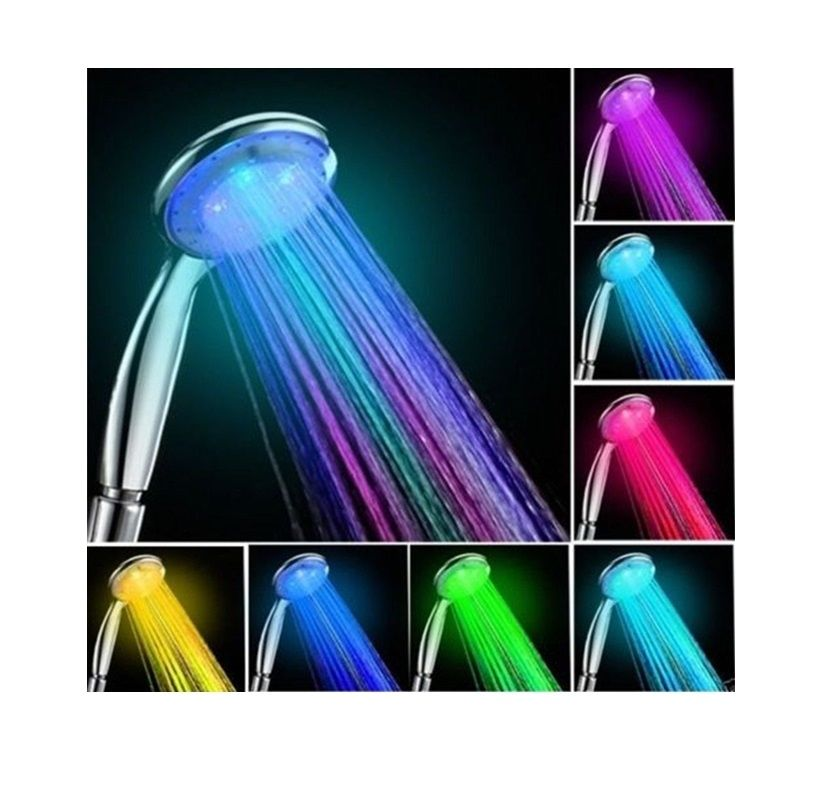 7 Color Auto Changing Led Light Shower Head Handheld Romantic Home Bat In 2020 Shower Heads Led Led Shower Head