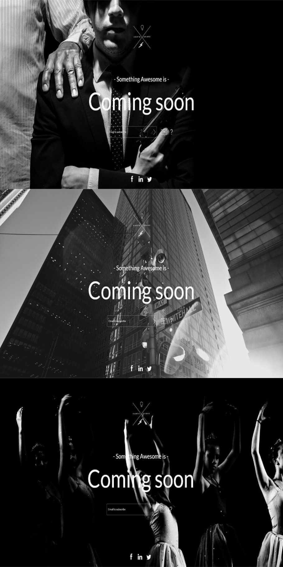 B&W Coming Soon Template in 2020 Social icons, Black and