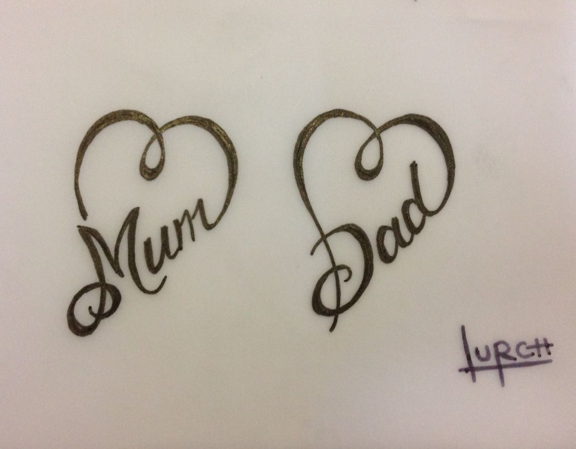 Small Feminine Tattoo Design Mum Dad Heart Forever Love Parents Tat Mum And Dad Tattoos Small Feminine Tattoos Feminine Tattoos