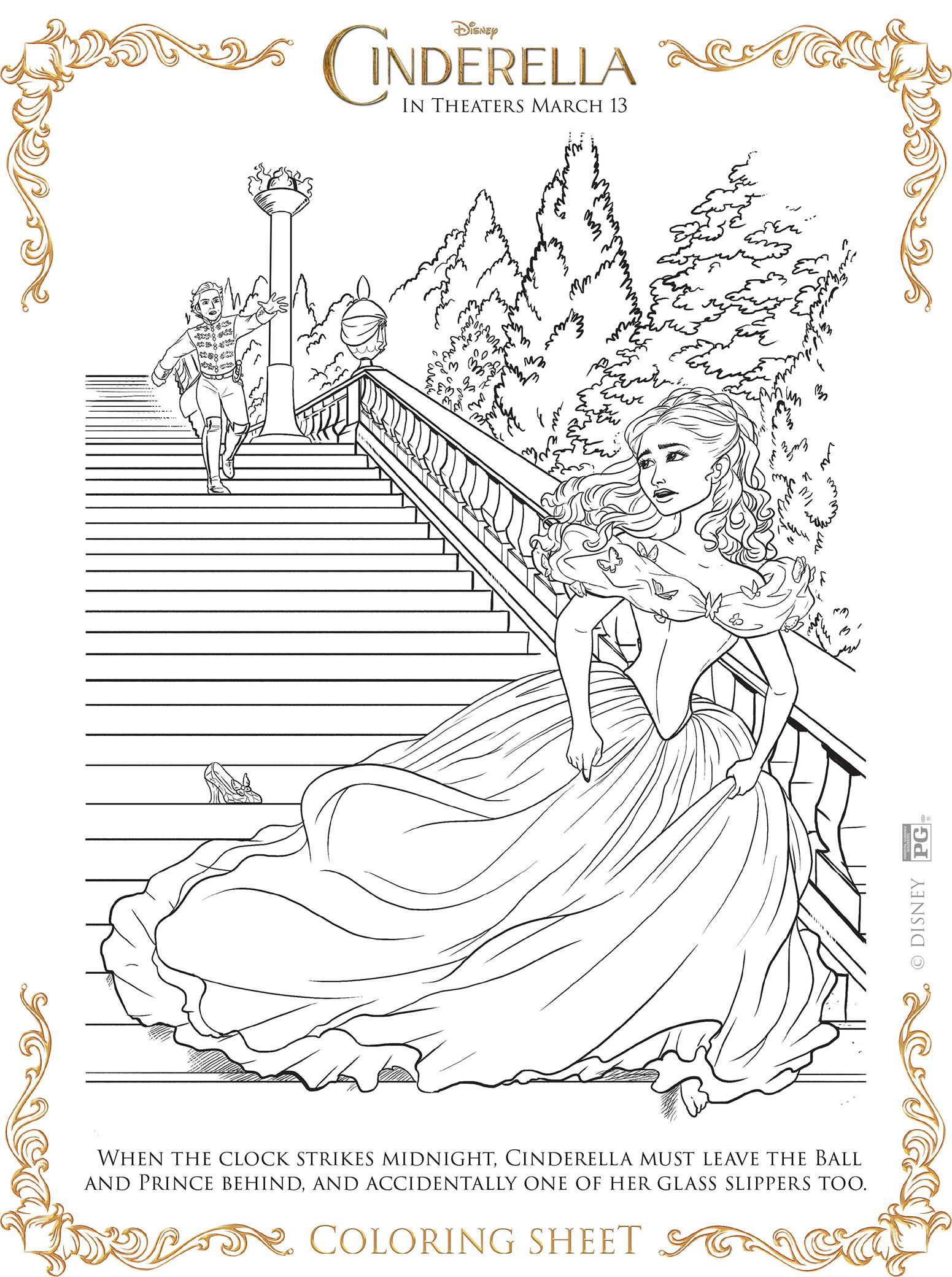 Free Printable Coloring Pages From The New Disney Live Action Cinderella Movie