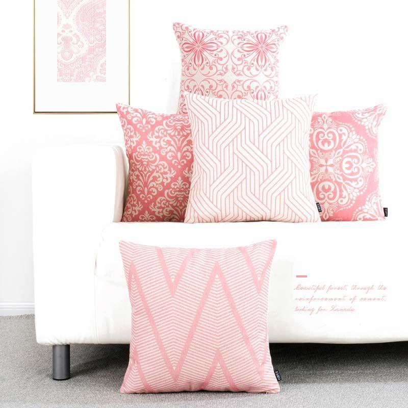 Contemporary Pink Pillow Cover Geometry Pattern Lumbar Piloow
