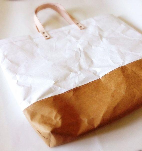 Tote Bag Grand : Tyvek and Kraft paper tote bag/market bag/shoulder bag/shopper…