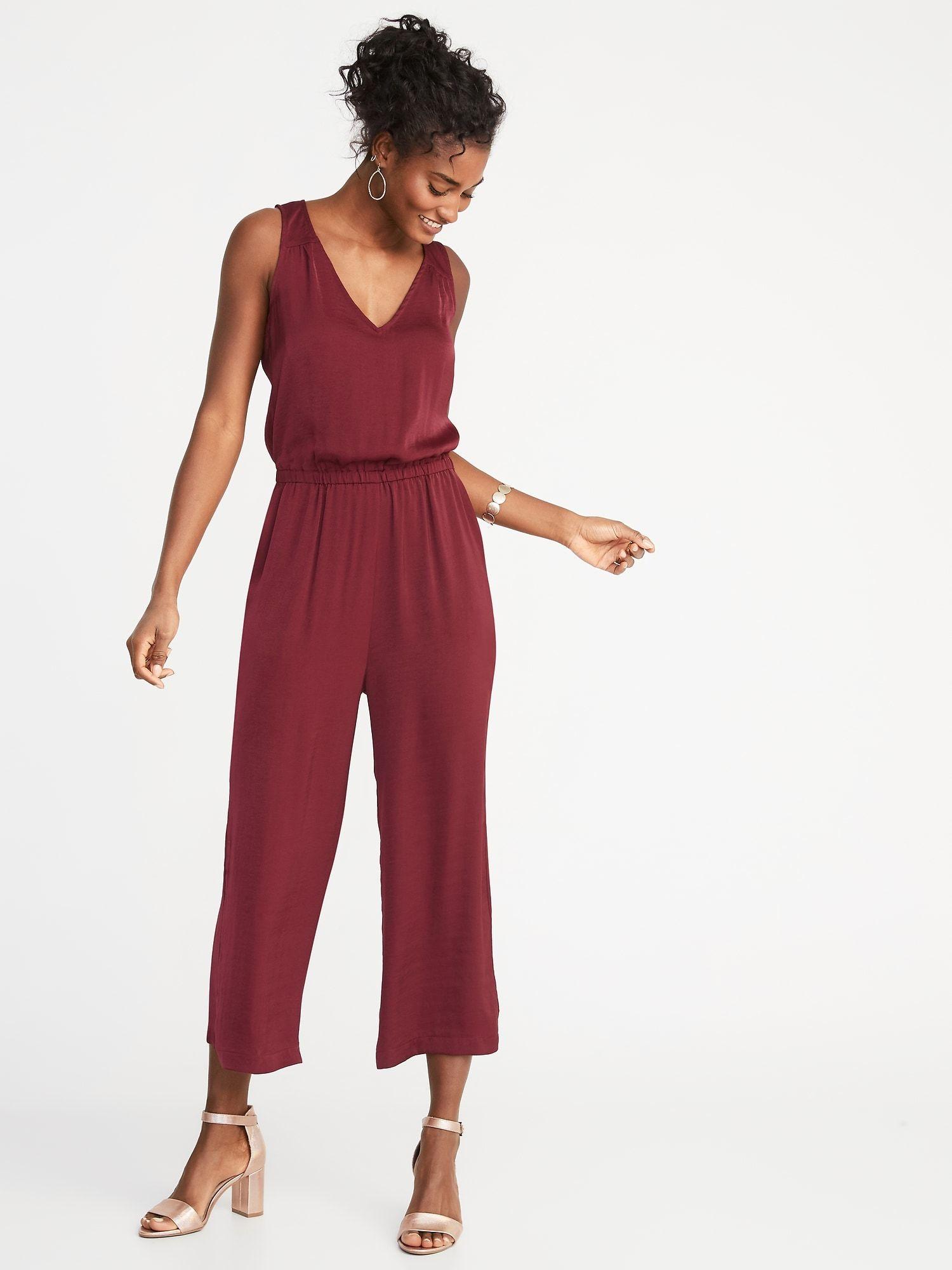 dc7e4ed844 Maroon Waist-Defined Sleeveless Wide-Leg Jumpsuit for Women | Old Navy - XS