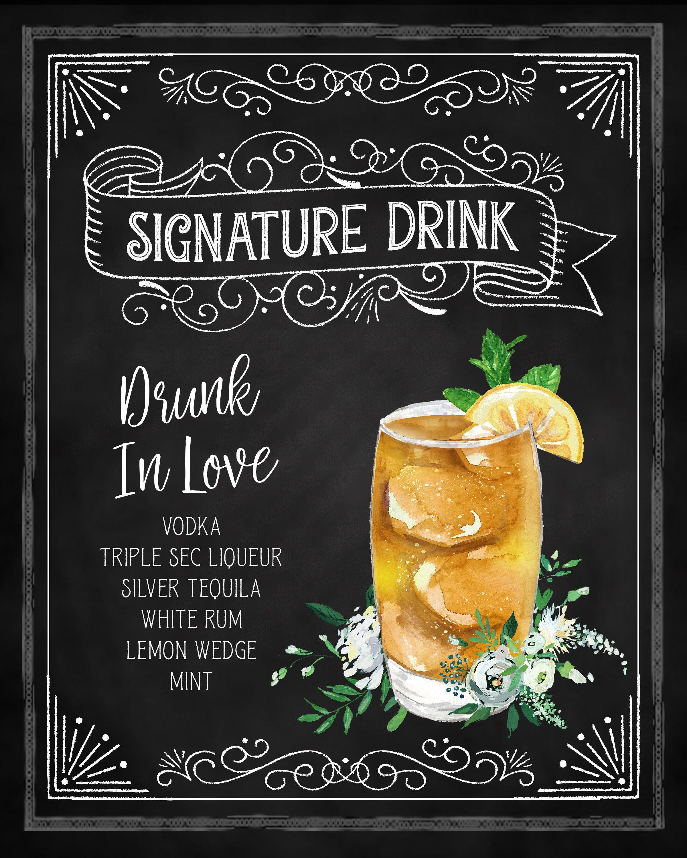 Wedding Signature Drink Sign, Signature Cocktail Sign